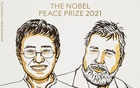 """Journalists Maria Ressa and Dmitry Andreyevich Muratov, who won the Nobel Peace Prize 2021 jointly """"for their efforts to safeguard freedom of expression, which is a precondition for democracy and lasting peace"""". NOBEL PRIZE OUTREACH"""