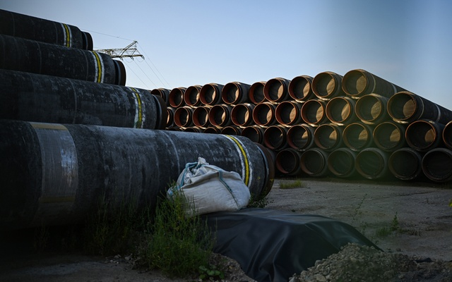 Equipment for the Nord Stream 2 pipeline at the Mukran port in Sassnitz, Germany on Aug 16, 2020. When finished the pipeline would stretch under the Baltic Sea from the Russian coast near St Petersburg to Germany. Lena Mucha/The New York Times
