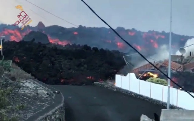 Lava is seen in La Palma, Spain, October 9, 2021, in this still image obtained from a social media video. Involcan/via REUTERS