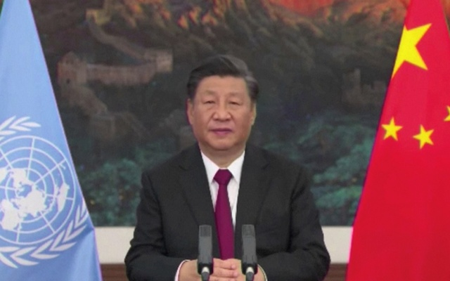 Chinese President Xi Jinping delivers a speech addressing the COP15 biodiversity summit in Kunming, China October 12, 2021. SECRETARIAT OF THE CONVENTION ON BIOLOGICAL DIVERSITY/Handout via REUTERS