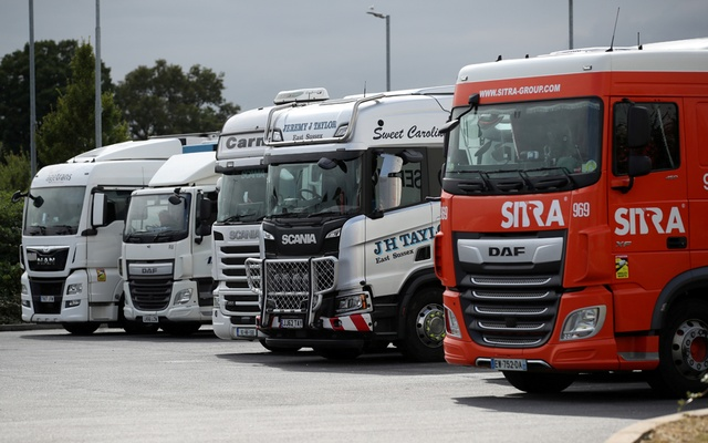 Trucks are seen at an HGV parking, at Cobham services on the M25 motorway, Cobham, Britain, Aug 31, 2021. REUTERS/Peter Cziborra