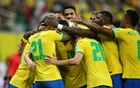 Brazil's Gabriel celebrates scoring their fourth goal with teammates. Football - World Cup - South American Qualifiers - Brazil v Uruguay - Arena da Amazonia, Manaus, Brazil- Oct 14, 2021. REUTERS