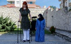 World's tallest woman Rumeysa Gelgi poses with her mother Safiye Gelgi during a news conference outside their home in Safranbolu, Karabuk province, Turkey, Oct 14, 2021. REUTERS