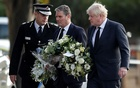 Chief Constable of Essex Police B J Harrington, Britain's Labour Party leader Keir Starmer and Prime Minister Boris Johnson arrive to pay tribute at the scene where British MP David Amess was stabbed to death during a meeting with constituents at the Belfairs Methodist Church, in Leigh-on-Sea, Britain, Oct 16, 2021. REUTERS/Peter Nicholls