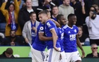 Football - Premier League - Leicester City v Manchester United - King Power Stadium, Leicester, Britain - October 16, 2021 Leicester City's Patson Daka celebrates scoring their fourth goal with Jamie Vardy and teammates REUTERS/Rebecca Naden