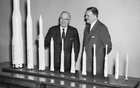 In a photo provided by NASA show, James Webb and Harry Truman on a visit to the newly opened NASA headquarters in Washington in 1961, where Truman was presented with a collection of rocket models for his presidential library in Independence, Mo. The long-awaited successor to the Hubble Space Telescope is scheduled to launch in December. But the NASA official for whom it is named has been accused of homophobia. NASA via The New York Times