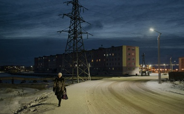A street in the port town of Pevek in Russia's Far North, Oct 7, 2021. Global warming may pose grave dangers around the world, but as one tiny Russian town on the Arctic Ocean shows, it can also be a ticket to prosperity. Emile Ducke/The New York Times