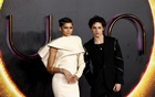Cast members Zendaya and Timothee Chalamet pose as they arrive for a UK screening of the film