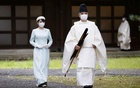 Japan's Princess Mako, the daughter of Crown Prince Akishino and Crown Princess Kiko, walks towards the Three Palace Sanctuaries to pray ahead of her marriage at the Imperial Palace in Tokyo, Japan October 19, 2021. Kyodo via REUTERS