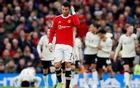 Manchester United's Cristiano Ronaldo looks dejected after Liverpool's Mohamed Salah scores their third goal. Soccer Football - Premier League - Manchester United v Liverpool - Old Trafford, Manchester, Britain - October 24, 2021. REUTERS