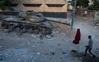 A tank left from Somalia's civil war in the 1990s in the country's capital of Mogadiushu, April 8, 2021. Tyler Hicks/The New York Times