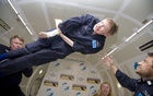 A photo provided by Zero Gravity Corporation of the late physicist Stephen Hawking, who suffered progressive paralysation from early-onset amyotrophic lateral sclerosis, or ALS, during a zero-gravity parabolic flight in 2007. Steve Boxall /Zero Gravity Corporation via The New York Times