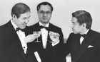 Japan's Emperor Akihito toasts with South Korea's President Roh Tae-woo during an imperial banquet hosted by the emperor at the Imperial Palace in Tokyo, Japan, May 24, 1990, in this photo released by Kyodo. via REUTERS